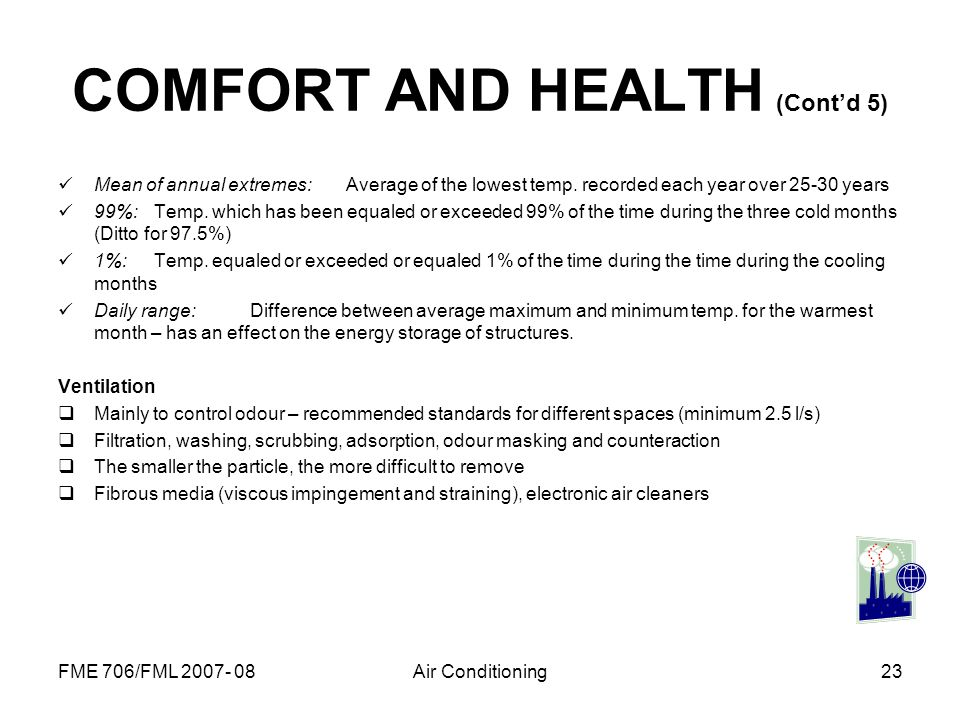 COMFORT AND HEALTH (Cont'd 5)