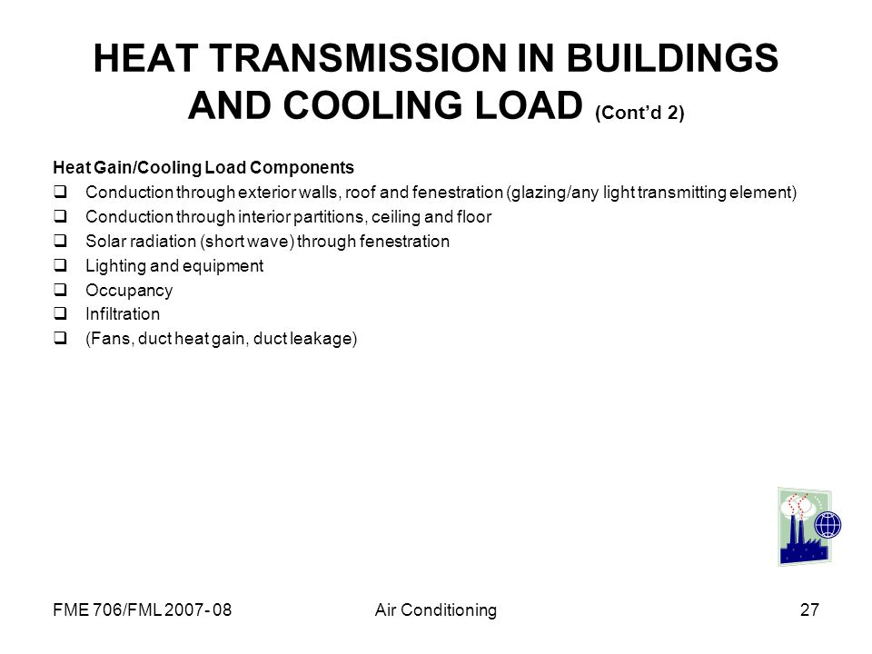 HEAT TRANSMISSION IN BUILDINGS AND COOLING LOAD (Cont'd 2)