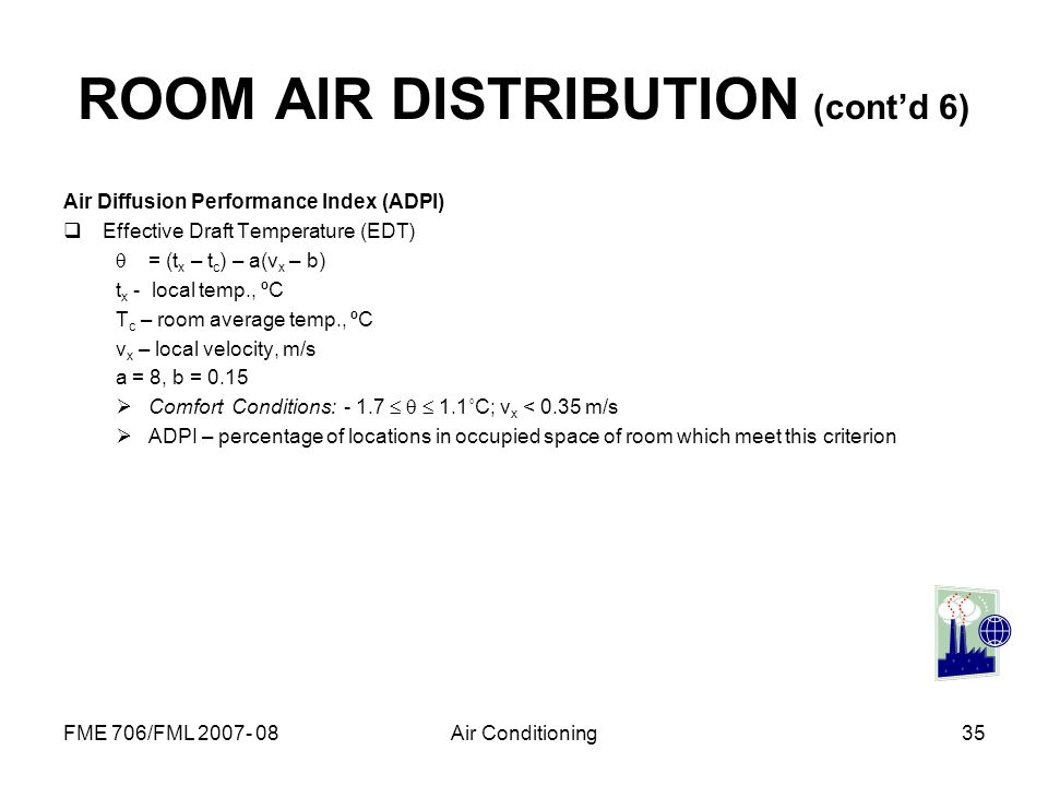 ROOM AIR DISTRIBUTION (cont'd 6)