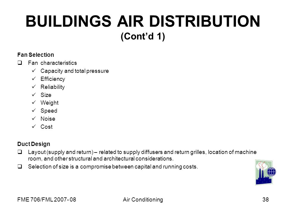 BUILDINGS AIR DISTRIBUTION (Cont'd 1)