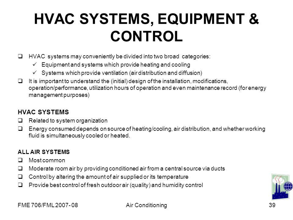 HVAC SYSTEMS, EQUIPMENT & CONTROL