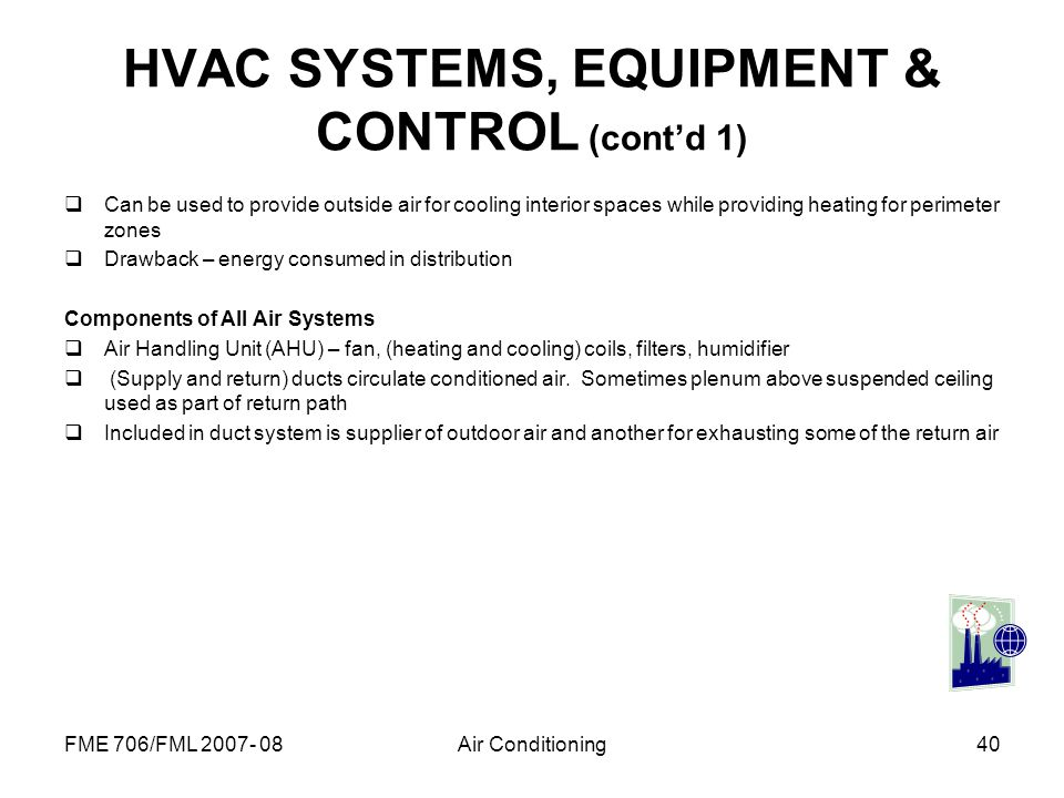 HVAC SYSTEMS, EQUIPMENT & CONTROL (cont'd 1)