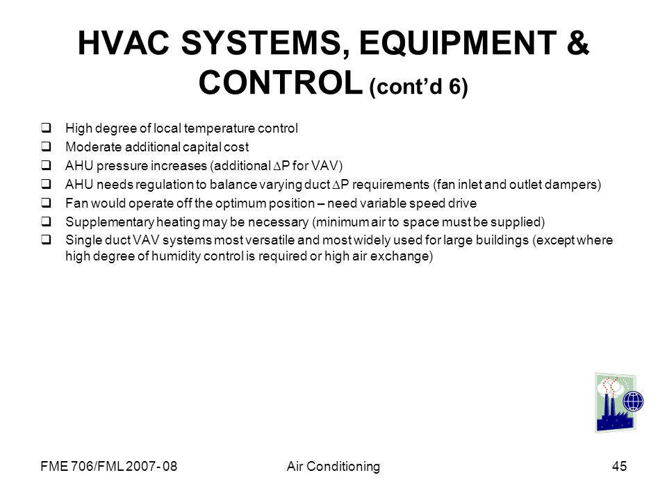 HVAC SYSTEMS, EQUIPMENT & CONTROL (cont'd 6)