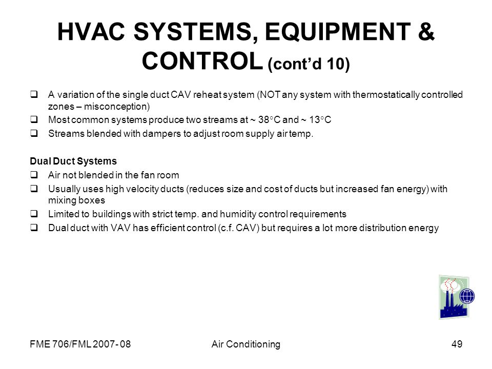 HVAC SYSTEMS, EQUIPMENT & CONTROL (cont'd 10)