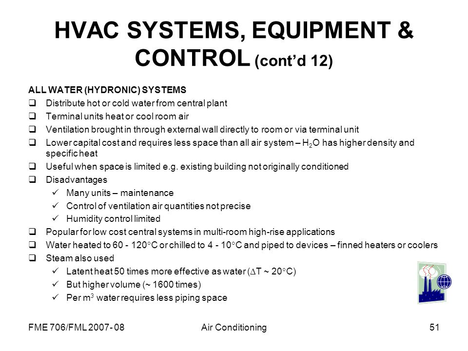 HVAC SYSTEMS, EQUIPMENT & CONTROL (cont'd 12)