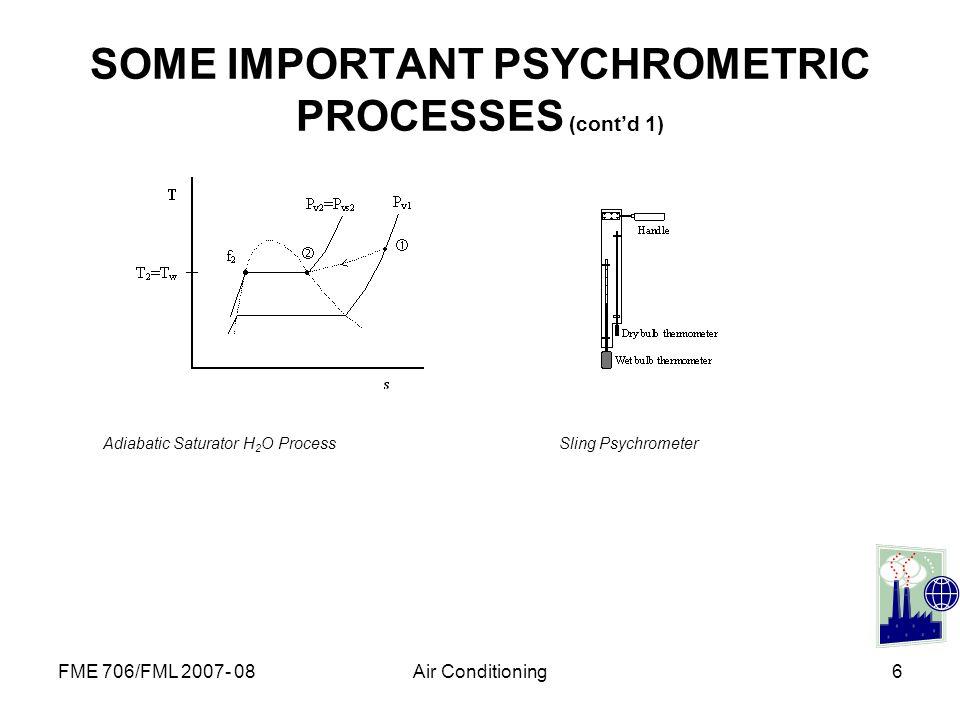 SOME IMPORTANT PSYCHROMETRIC PROCESSES (cont'd 1)