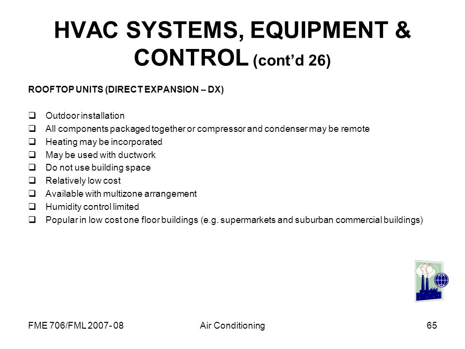 HVAC SYSTEMS, EQUIPMENT & CONTROL (cont'd 26)