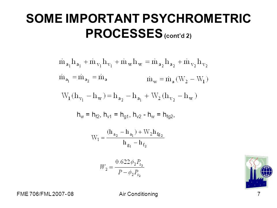 SOME IMPORTANT PSYCHROMETRIC PROCESSES (cont'd 2)