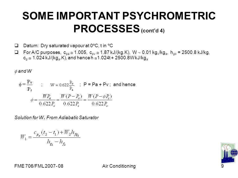SOME IMPORTANT PSYCHROMETRIC PROCESSES (cont'd 4)