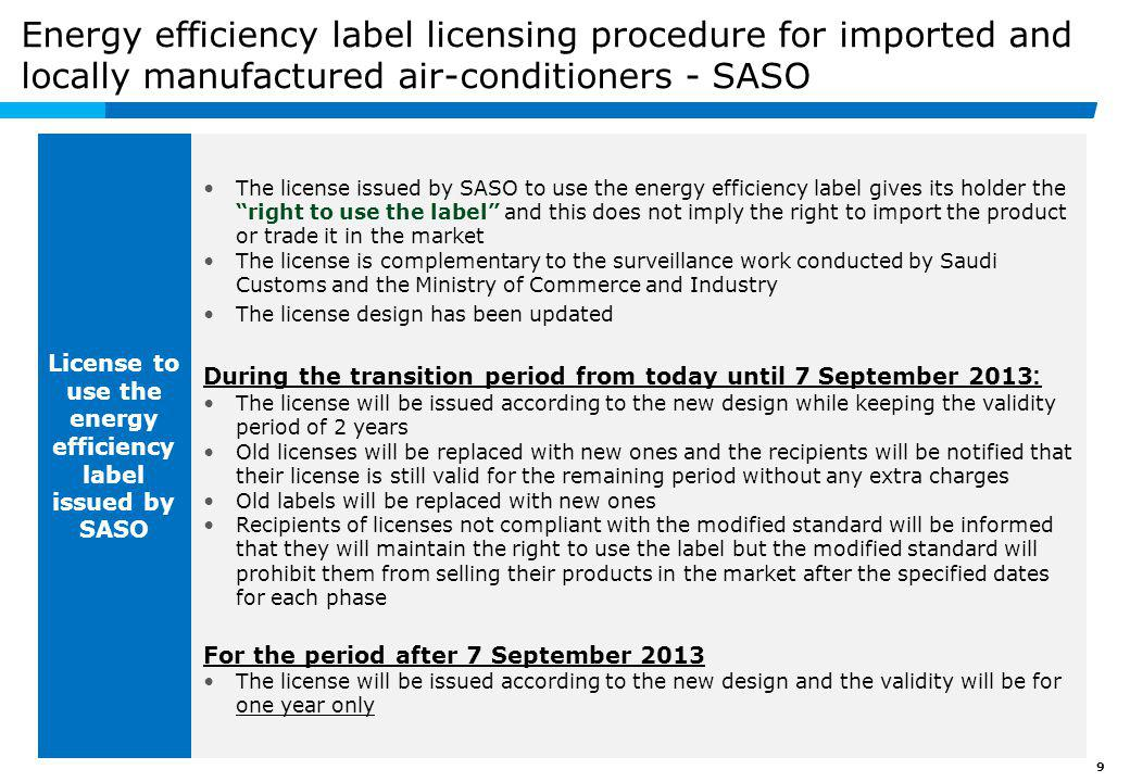 Agenda Modified Saudi standard SASO 2663/2012 and energy efficiency label licensing (for imported and locally manufactured air-conditioners)