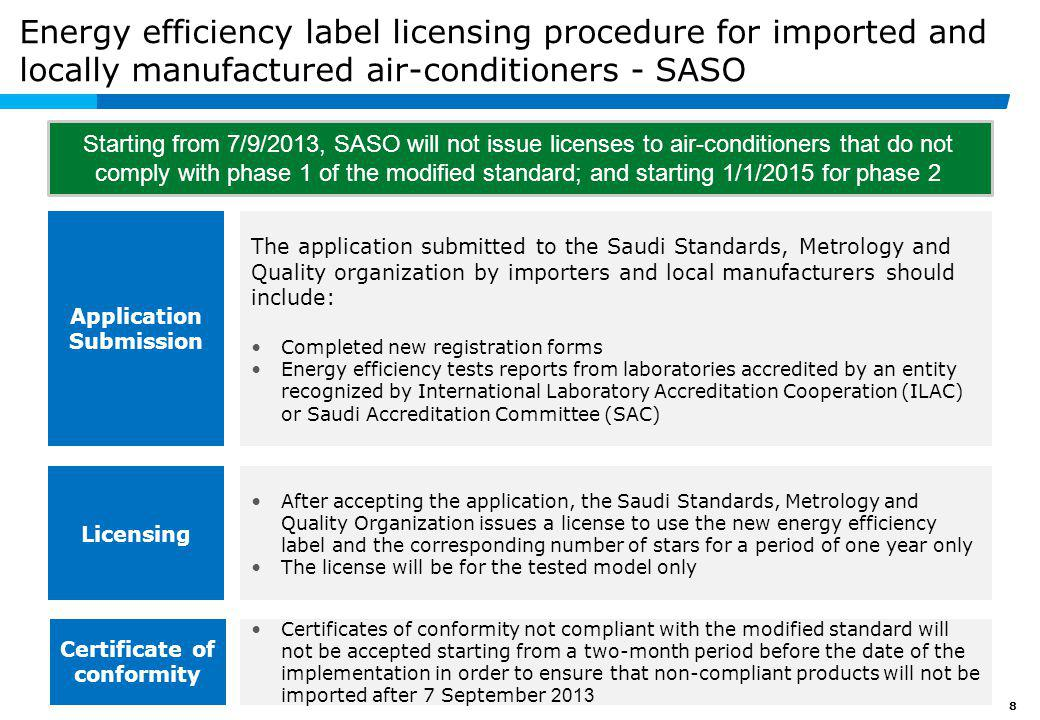License to use the energy efficiency label issued by SASO