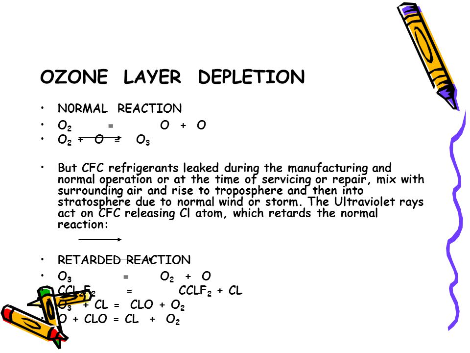 OZONE LAYER DEPLETION N0RMAL REACTION O2 = O + O O2 + O = O3