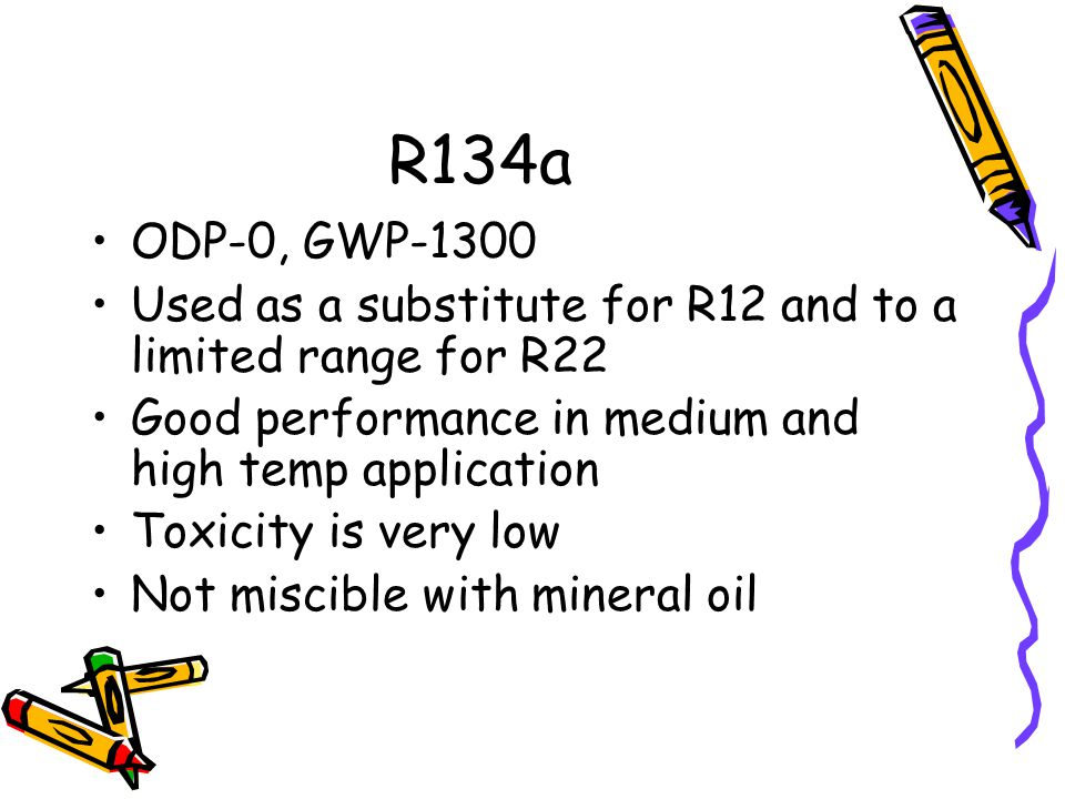 R134a ODP-0, GWP-1300. Used as a substitute for R12 and to a limited range for R22. Good performance in medium and high temp application.