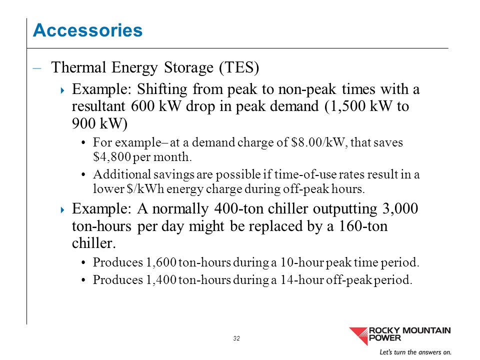 Accessories Thermal Energy Storage (TES)