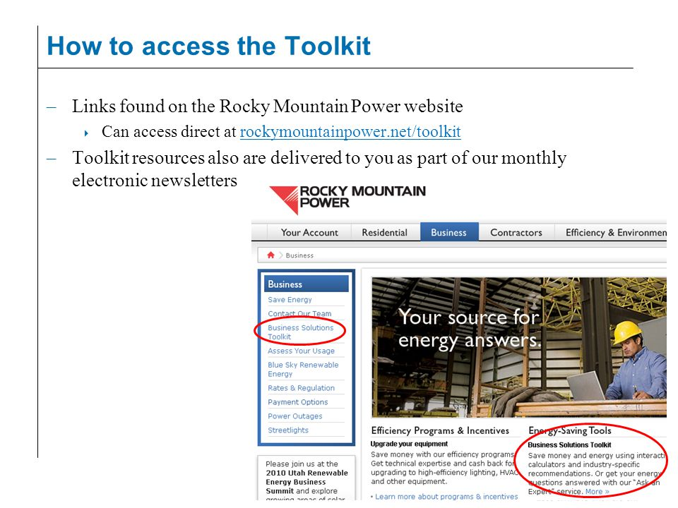 How to access the Toolkit