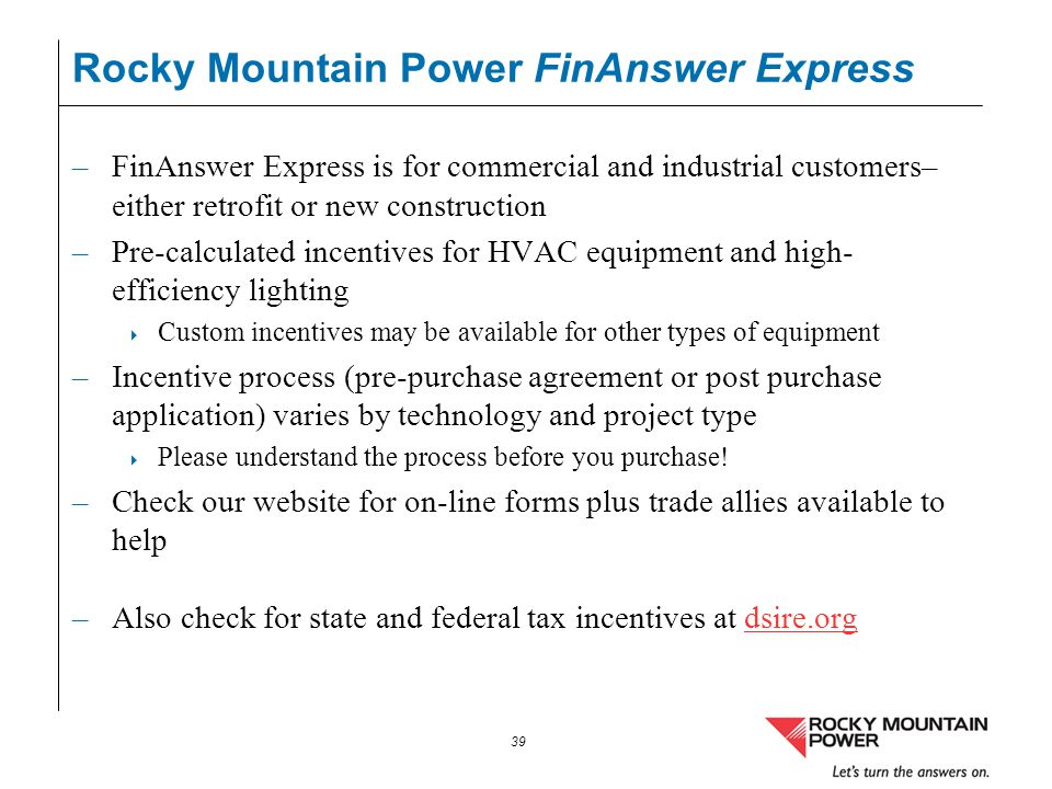 Rocky Mountain Power FinAnswer Express