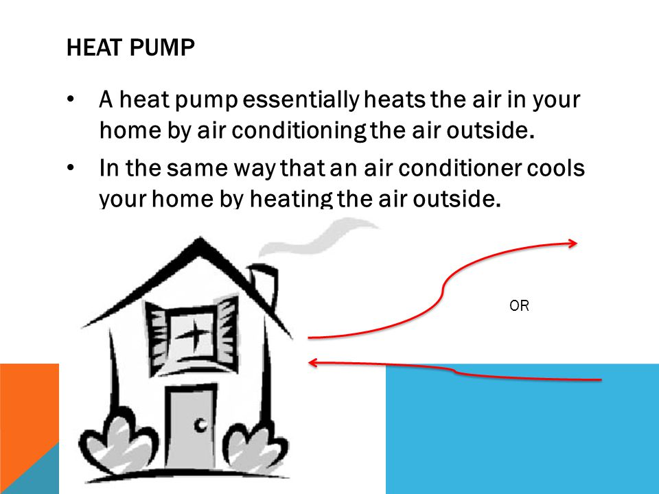 Heat Pump A heat pump essentially heats the air in your home by air conditioning the air outside.