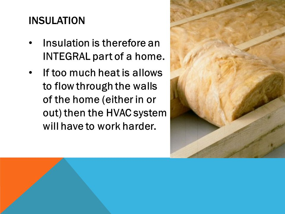 INSULATION Insulation is therefore an INTEGRAL part of a home.