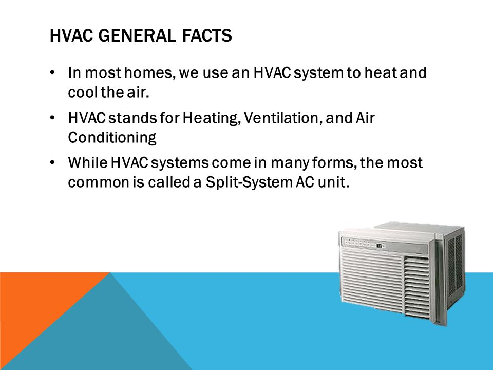 HVAC General facts In most homes, we use an HVAC system to heat and cool the air. HVAC stands for Heating, Ventilation, and Air Conditioning.