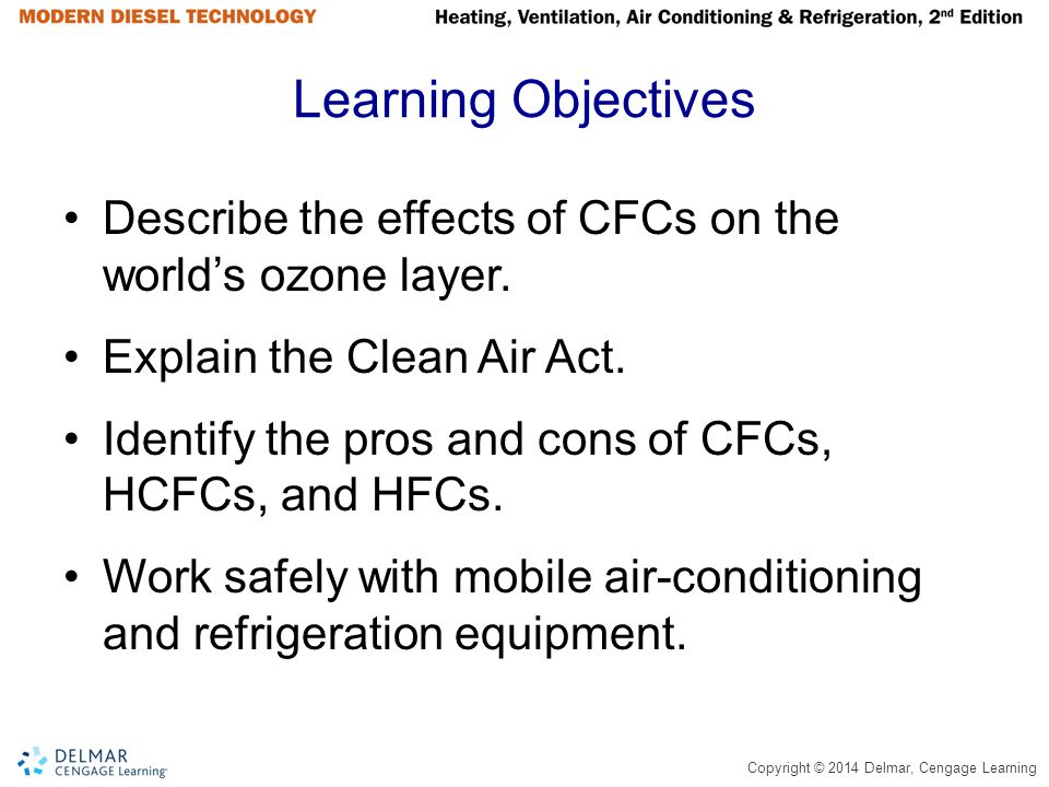 Learning Objectives Describe the effects of CFCs on the world's ozone layer. Explain the Clean Air Act.