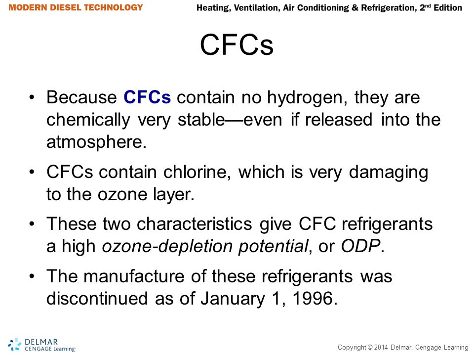 CFCs Because CFCs contain no hydrogen, they are chemically very stable—even if released into the atmosphere.