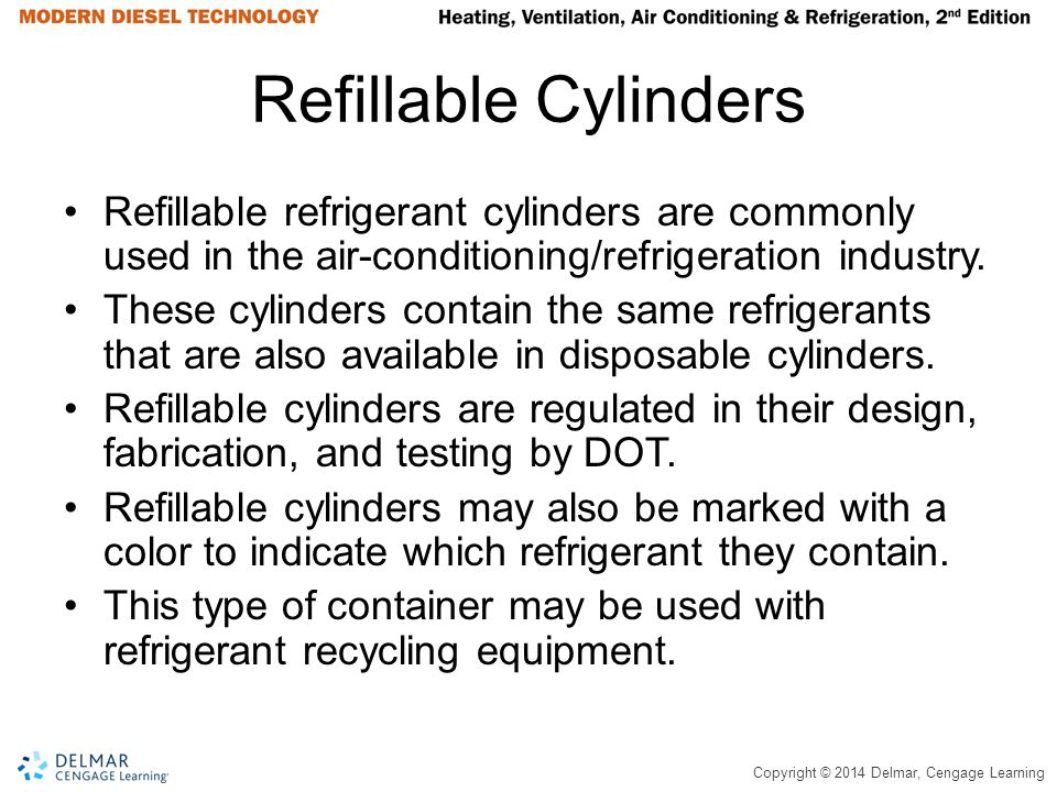 Refillable Cylinders Refillable refrigerant cylinders are commonly used in the air-conditioning/refrigeration industry.