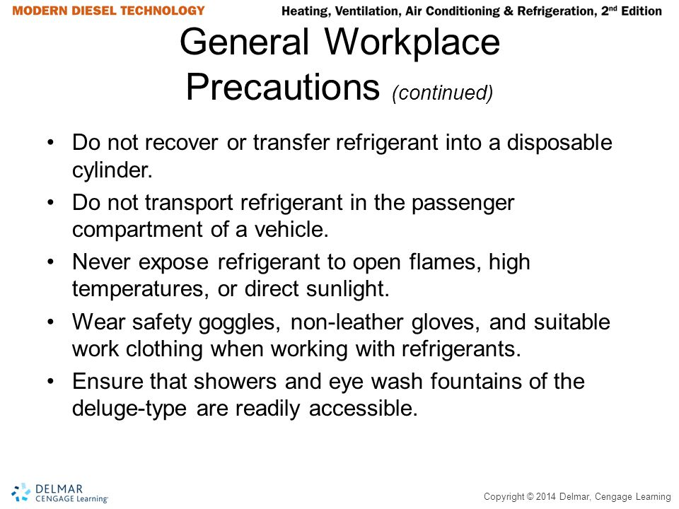 General Workplace Precautions (continued)