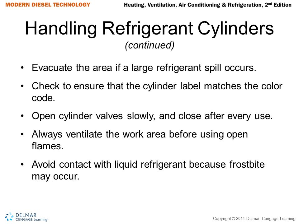 Handling Refrigerant Cylinders (continued)