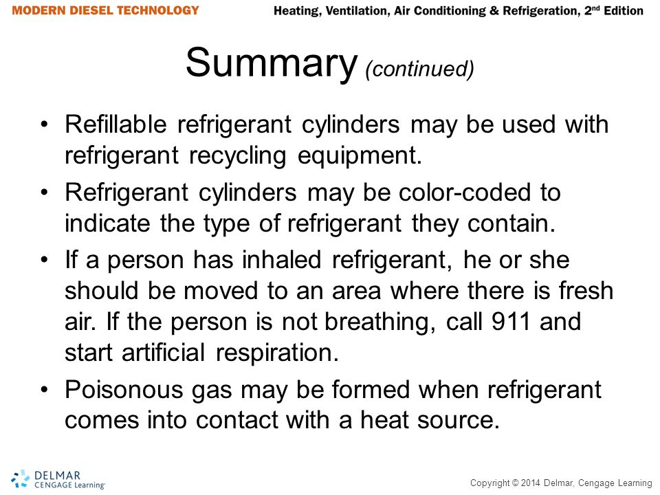 Summary (continued) Refillable refrigerant cylinders may be used with refrigerant recycling equipment.