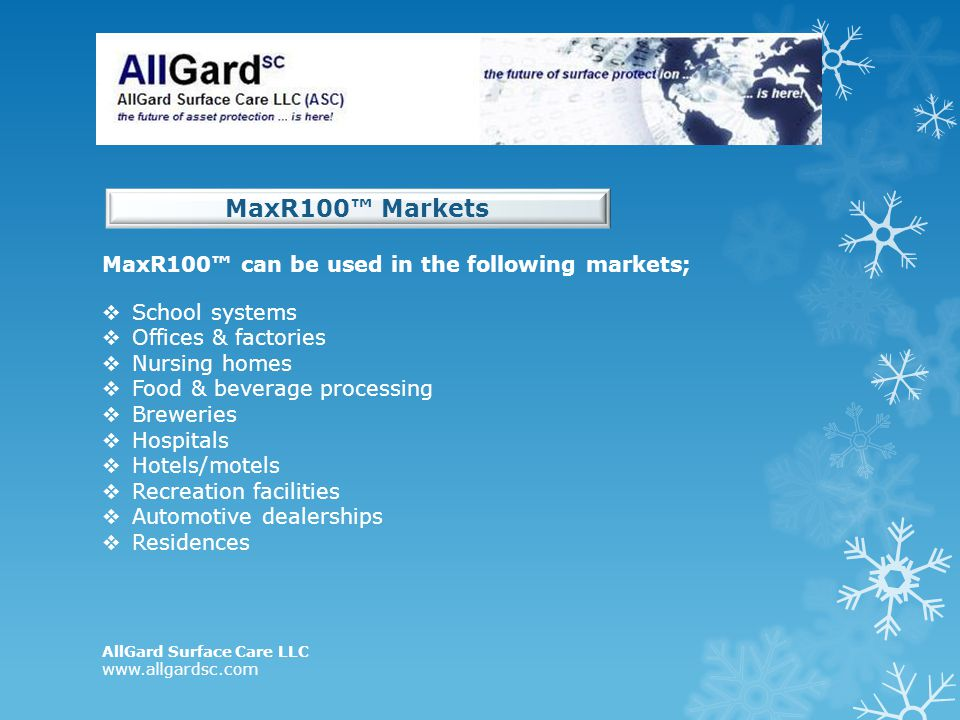 MaxR100™ Markets MaxR100™ can be used in the following markets;