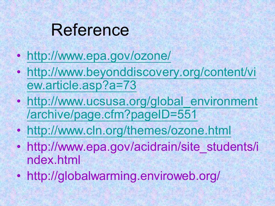 Reference http://www.epa.gov/ozone/