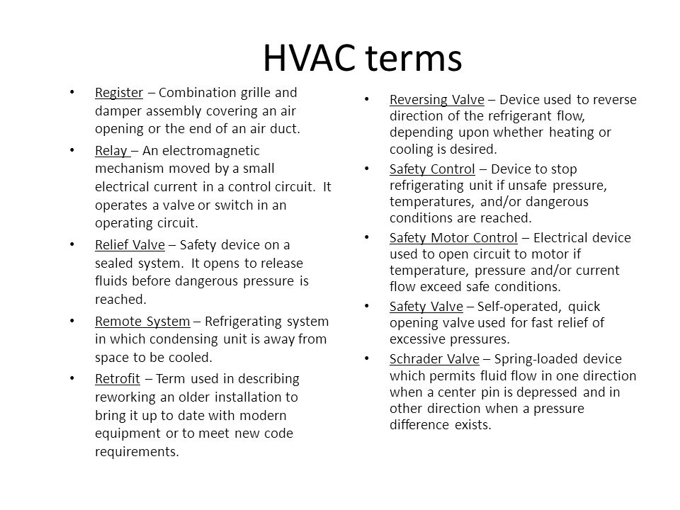 HVAC terms Register – Combination grille and damper assembly covering an air opening or the end of an air duct.
