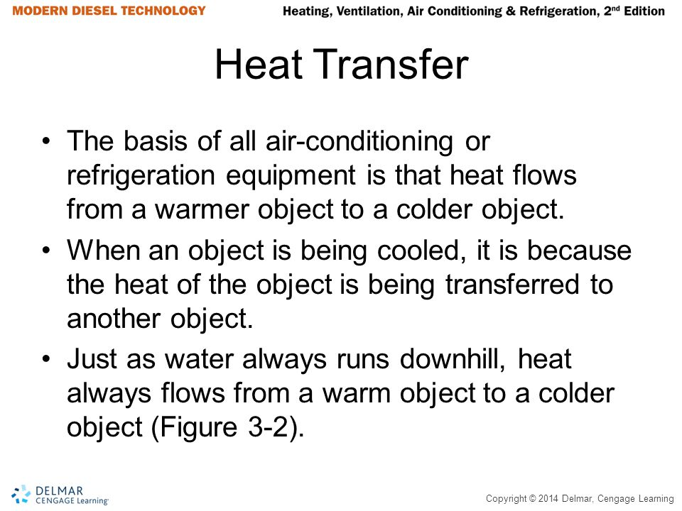 Heat Transfer The basis of all air-conditioning or refrigeration equipment is that heat flows from a warmer object to a colder object.