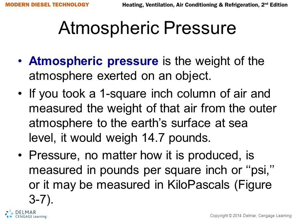 Atmospheric Pressure Atmospheric pressure is the weight of the atmosphere exerted on an object.