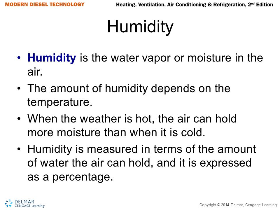 Humidity Humidity is the water vapor or moisture in the air.