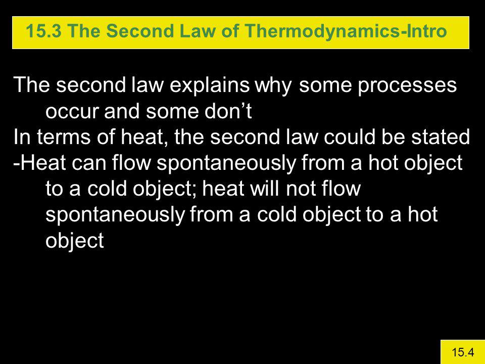 15.3 The Second Law of Thermodynamics-Intro