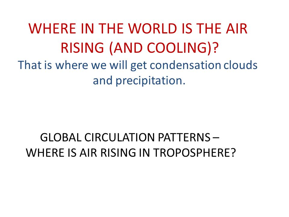 WHERE IN THE WORLD IS THE AIR RISING (AND COOLING)