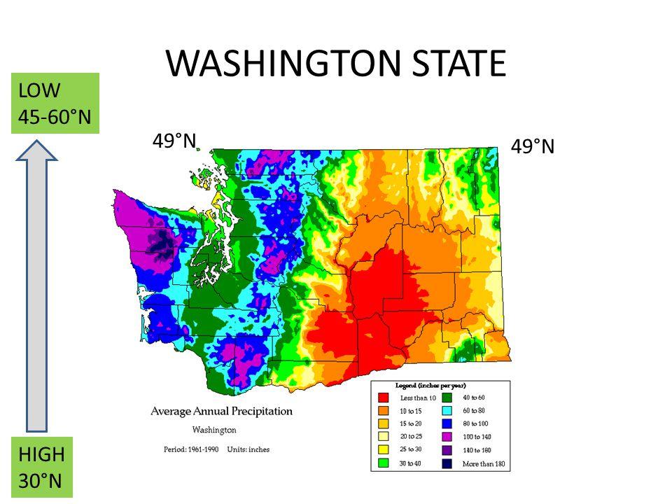 WASHINGTON STATE LOW 45-60°N 49°N 49°N HIGH 30°N