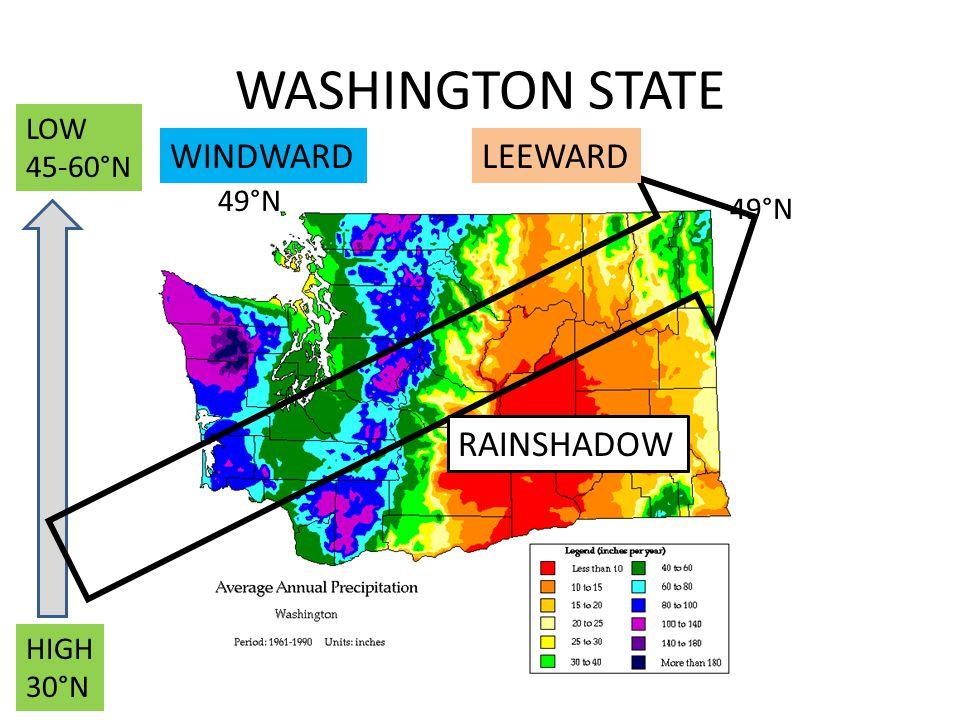 WASHINGTON STATE WINDWARD LEEWARD RAINSHADOW LOW 45-60°N 49°N 49°N
