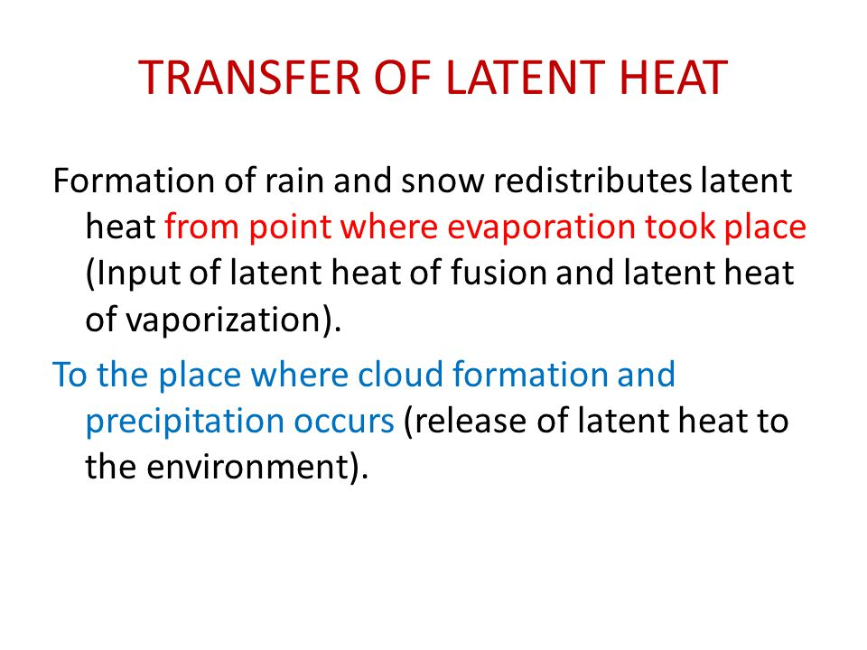 TRANSFER OF LATENT HEAT