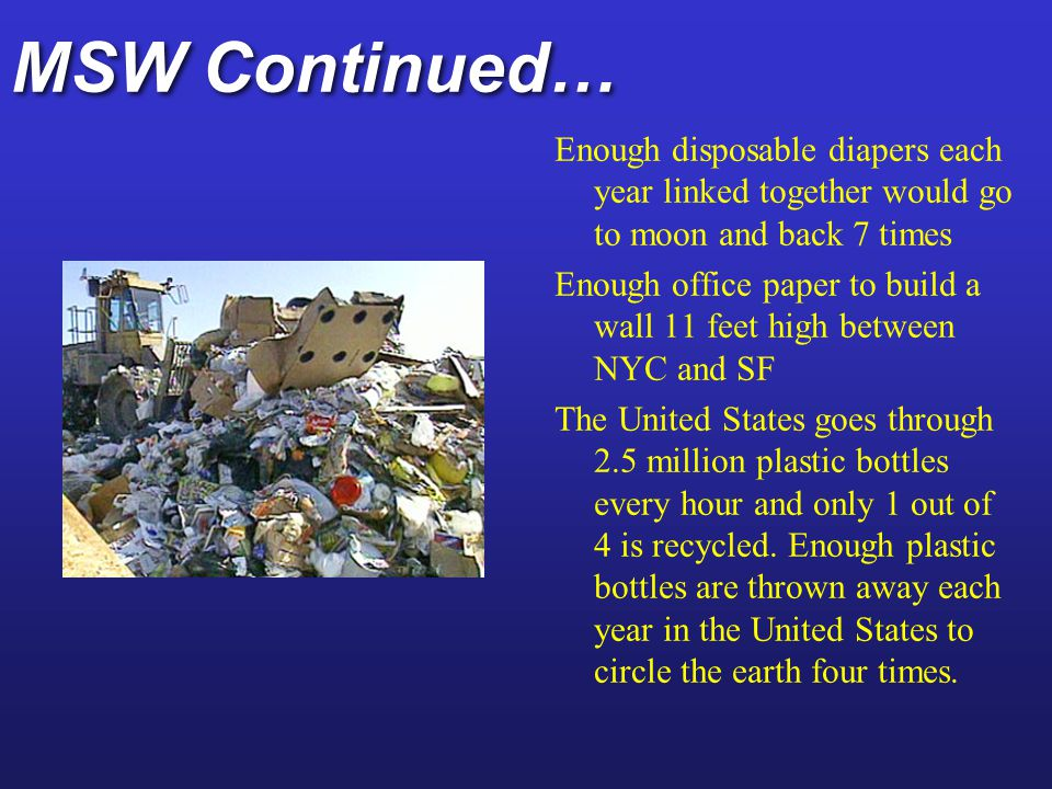 MSW Continued… Enough disposable diapers each year linked together would go to moon and back 7 times.