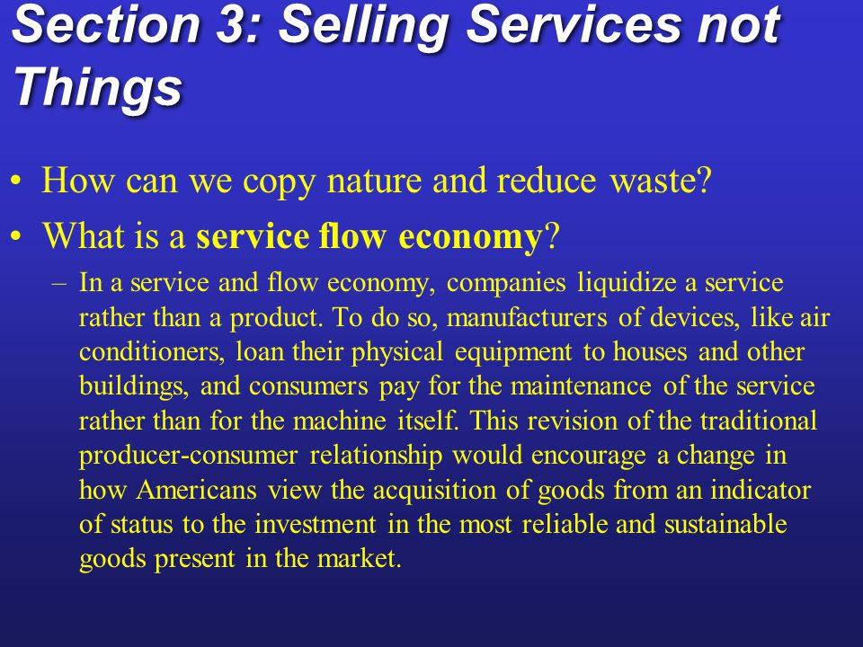 Section 3: Selling Services not Things