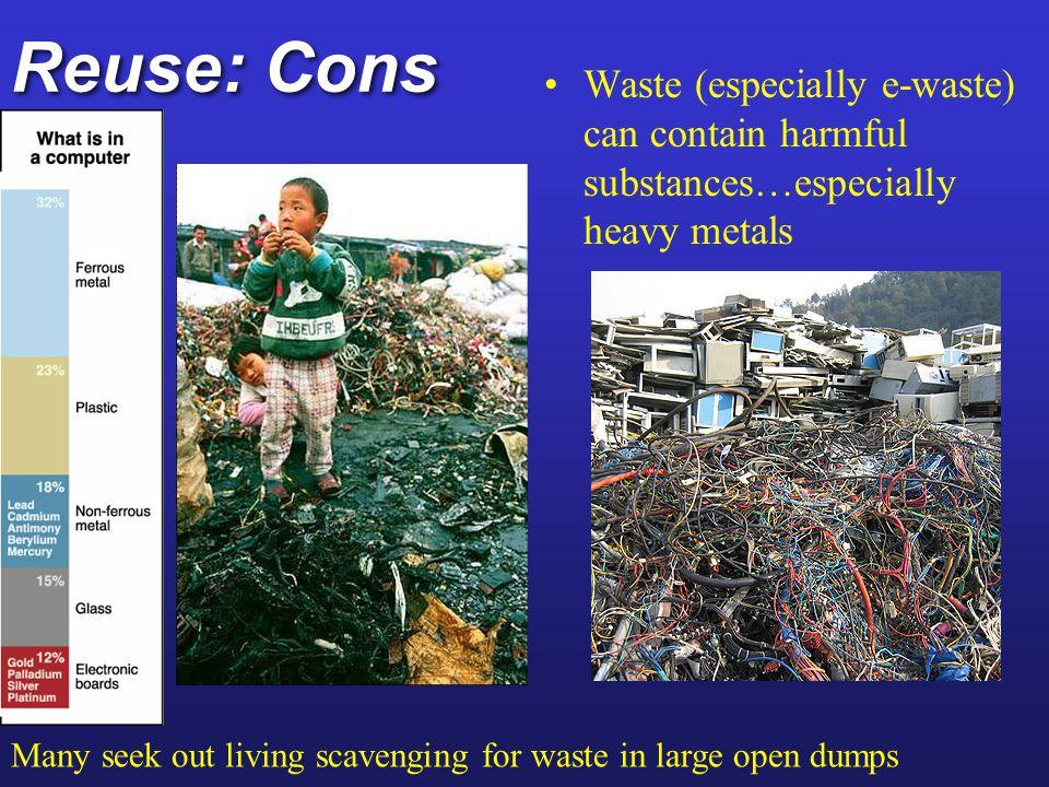 Reuse: Cons Waste (especially e-waste) can contain harmful substances…especially heavy metals.