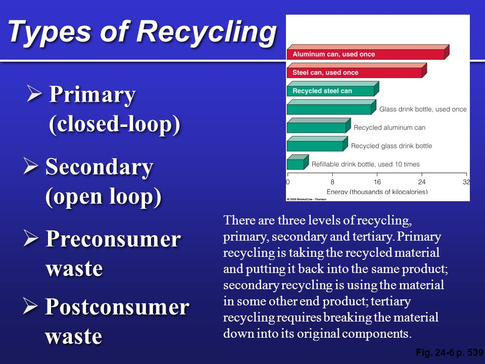 Types of Recycling Primary (closed-loop) Secondary (open loop)