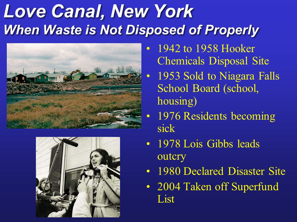 Love Canal, New York When Waste is Not Disposed of Properly