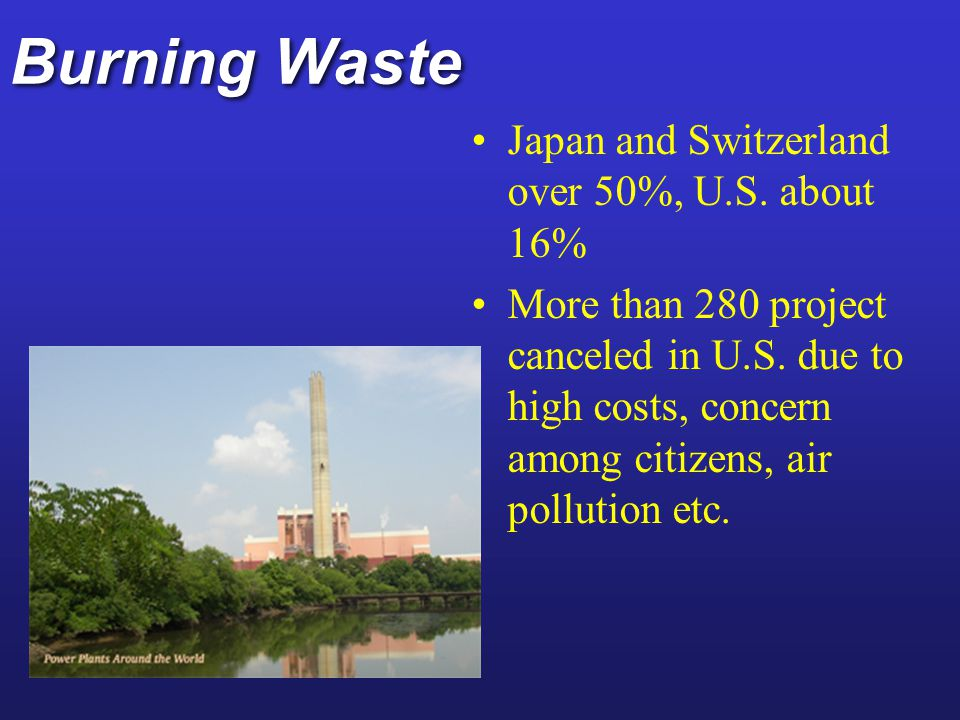 Burning Waste Japan and Switzerland over 50%, U.S. about 16%