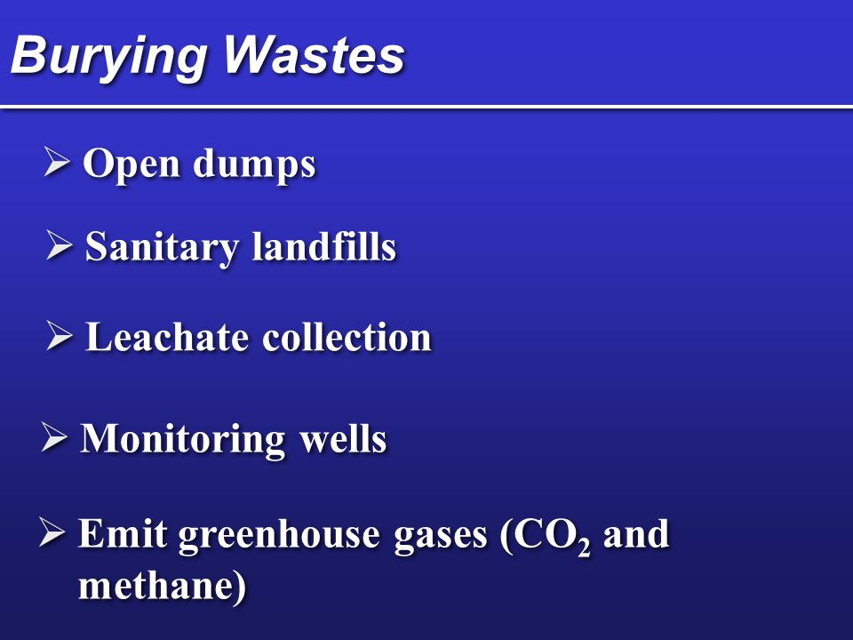 Burying Wastes Open dumps Sanitary landfills Leachate collection