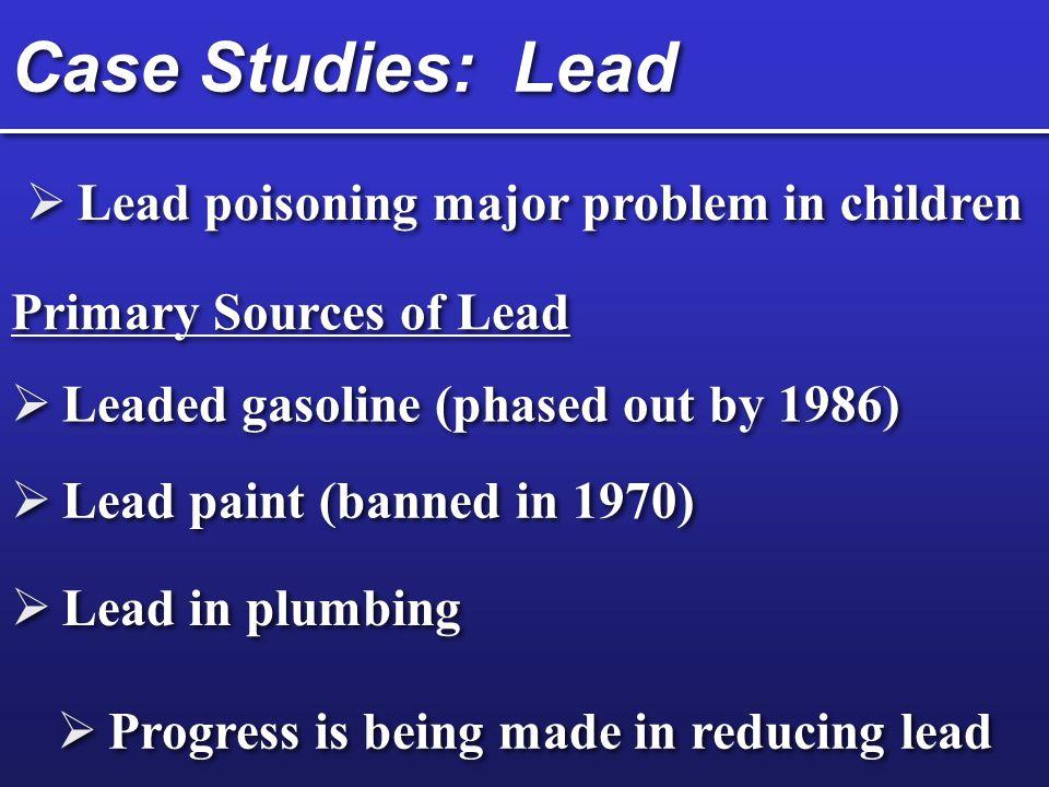 Case Studies: Lead Lead poisoning major problem in children