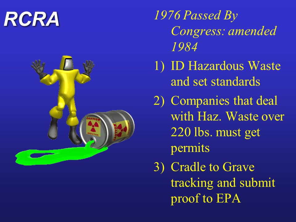 RCRA 1976 Passed By Congress: amended 1984