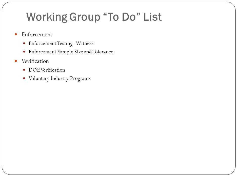 Working Group To Do List